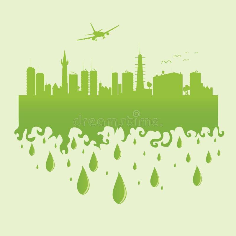 Surfacez au-dessus de la ville sur une illustration verte de vecteur illustration de vecteur