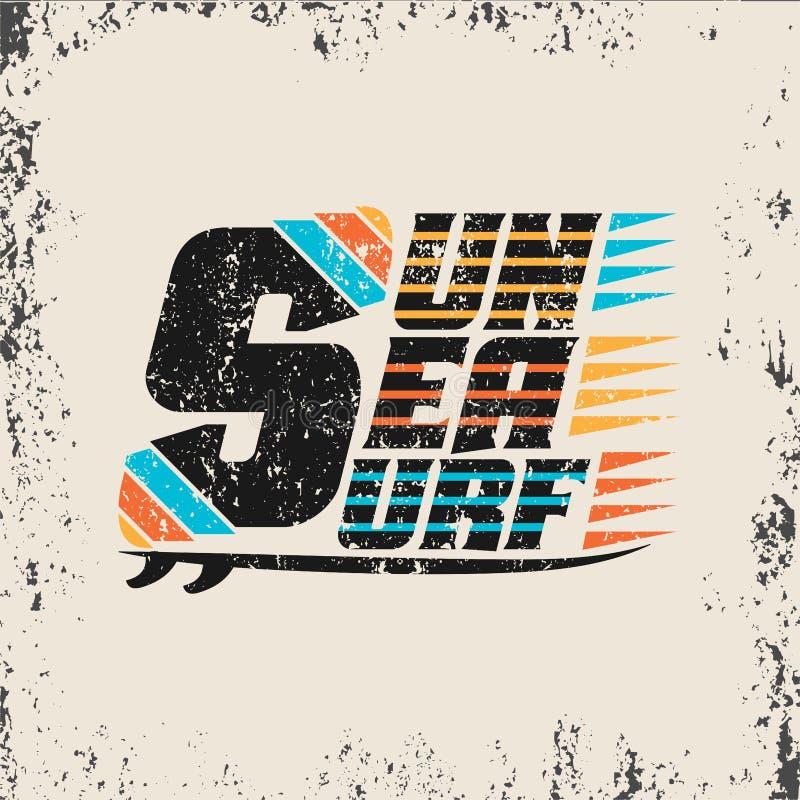 Surfando, Miami Beach, Florida, t-shirt surfando ilustração stock