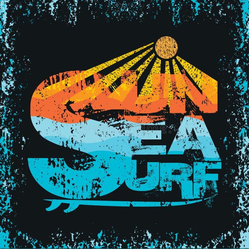 Surfando, Miami Beach, Florida, t-shirt surfando ilustração do vetor