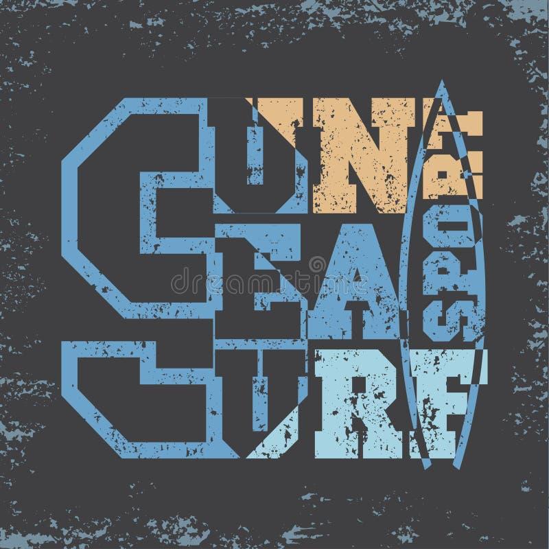 Surfando, Miami Beach, Florida, t-shirt surfando, inscrip do t-shirt ilustração do vetor