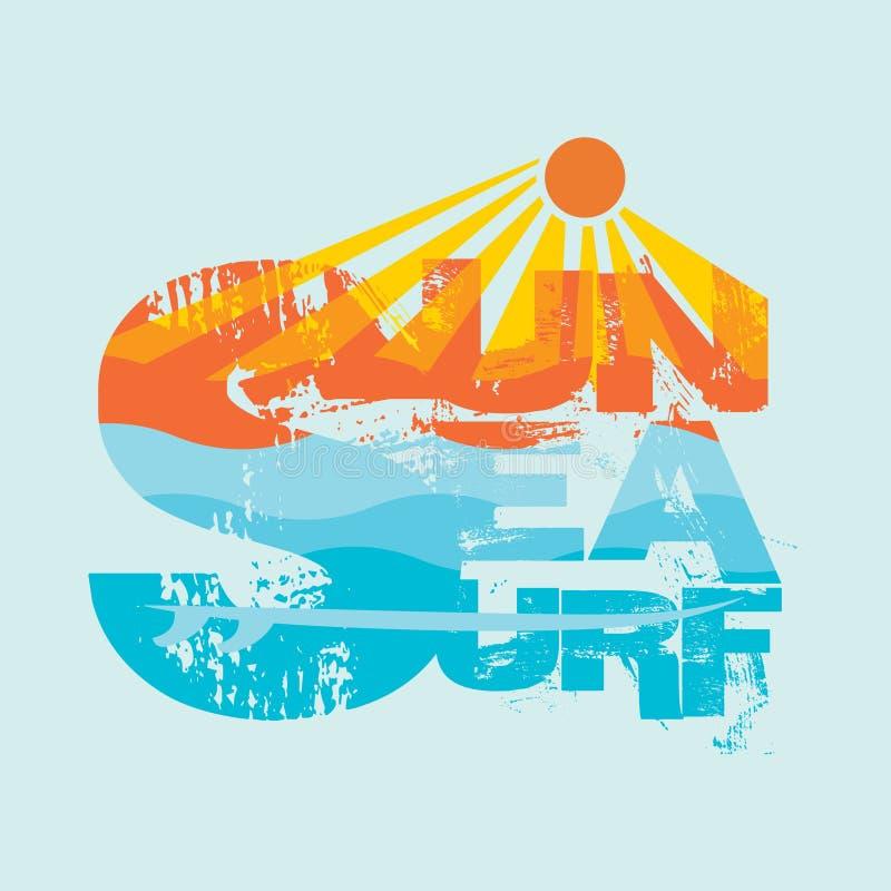 Surfando, Miami Beach, Florida, t-shirt surfando, inscrip do t-shirt ilustração stock