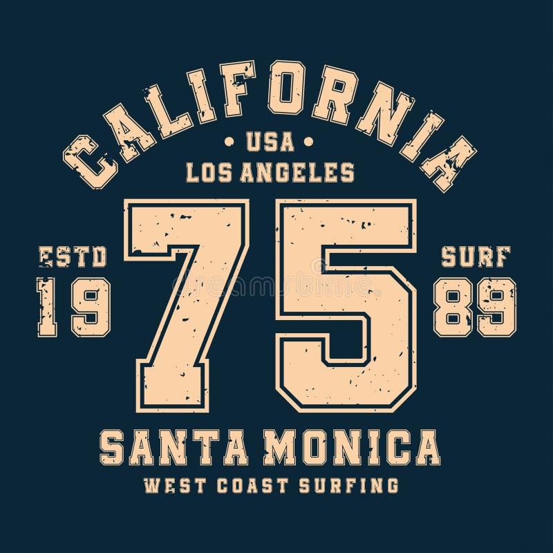 Surfant, conception de T-shirt de la Californie, insigne pour la copie sportive de chemise Graphiques de T-shirt de style de fac illustration libre de droits