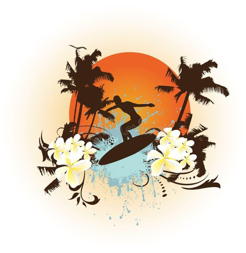 Surfar do grunge da flor ilustração stock