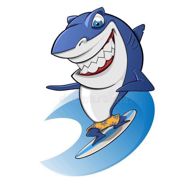 Surfar do tubarão ilustração do vetor