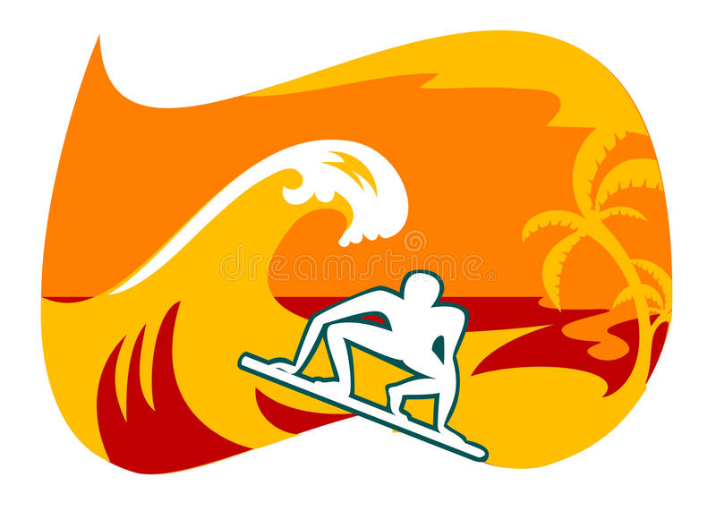 Surfar em Bali ilustração do vetor