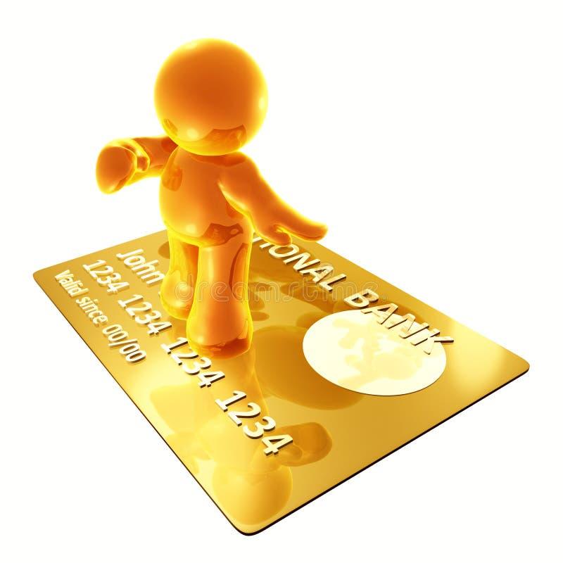 Surfar em um cartão de crédito ilustração do vetor