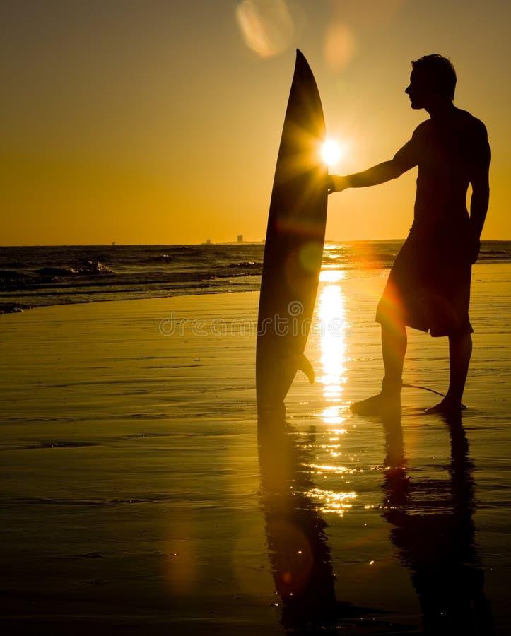 Surfar no por do sol fotos de stock