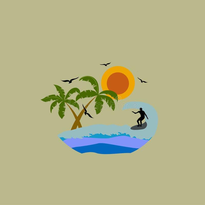 Surfar Ondas Paisagem tropical Ilustração do vetor Eps 10 ilustração stock