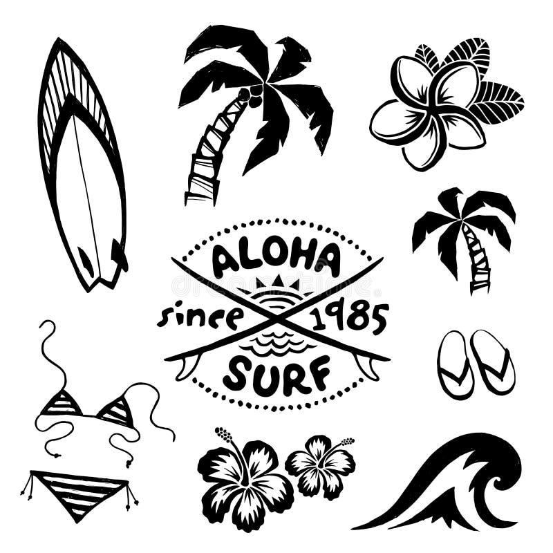 Surfar tropical e relaxa o esboço da tinta dos símbolos ajustado no estilo da tatuagem ilustração stock