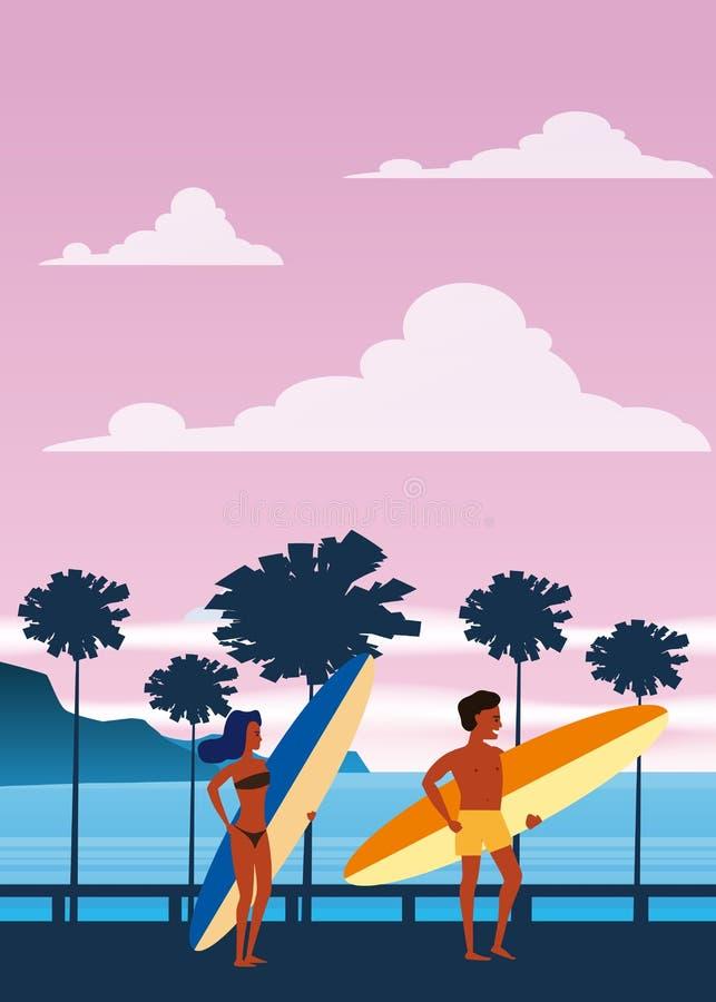 Surfare man och kvinna på stranden, kust, palmträd Semesterort vändkretsar, hav, hav Vektor isolerad plan stil, affisch vektor illustrationer