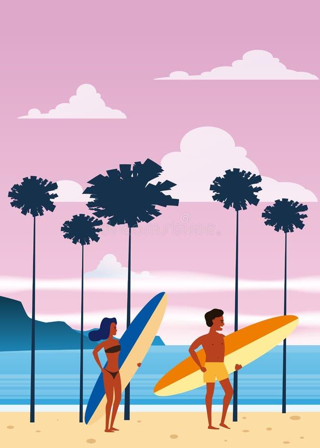Surfare man och kvinna på stranden, kust, palmträd Semesterort vändkretsar, hav, hav Vektor isolerad plan stil, affisch royaltyfri illustrationer