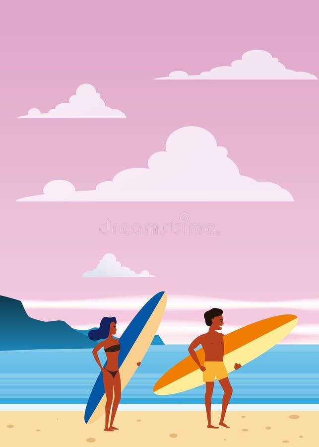 Surfare man och kvinna på stranden, kust, palmträd Semesterort vändkretsar, hav, hav Vektor isolerad plan stil, affisch stock illustrationer