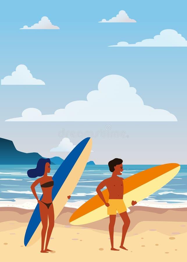 Surfare man och kvinnapar på stranden, kust, palmträd F? klar att surfa Semesterort vändkretsar, hav, hav vektor stock illustrationer