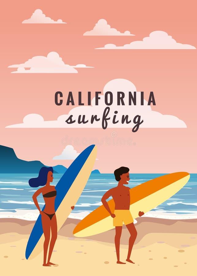 Surfare man och kvinnapar på stranden, kust, palmträd F? klar att surfa Semesterort vändkretsar, hav, hav vektor royaltyfri illustrationer
