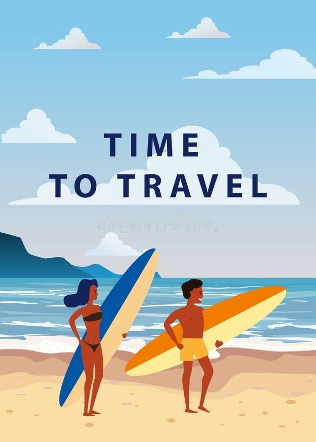 Surfare man och kvinnapar på stranden, kust, palmträd F? klar att surfa Semesterort vändkretsar, hav, hav vektor vektor illustrationer