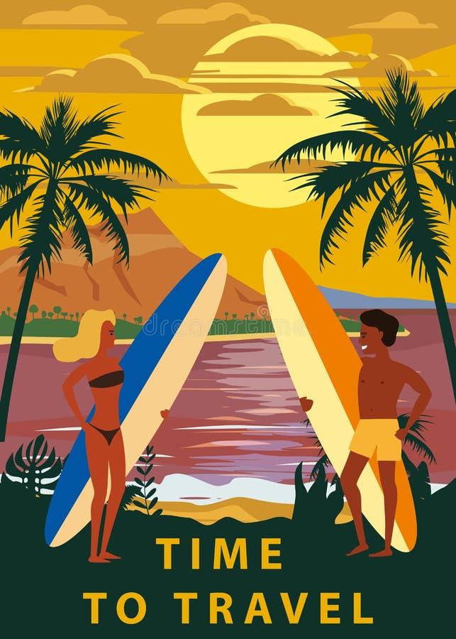 Surfare man och kvinnapar på stranden, solnedgång, kust, palmträd F? klar att surfa Semesterort vändkretsar, hav, hav vektor illustrationer