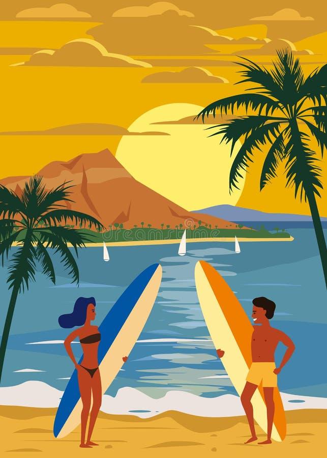 Surfare man och kvinnapar på stranden, solnedgång, kust, palmträd F? klar att surfa Semesterort vändkretsar, hav, hav stock illustrationer