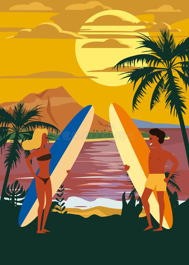Surfare man och kvinnapar på stranden, solnedgång, kust, palmträd F? klar att surfa Semesterort vändkretsar, hav, hav royaltyfri illustrationer