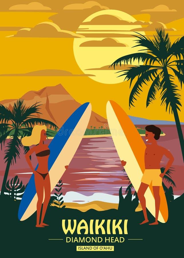 Surfare man och kvinnapar på stranden Waikiki, solnedgång, kust, palmträd F? klar att surfa Semesterort vändkretsar, hav royaltyfri illustrationer