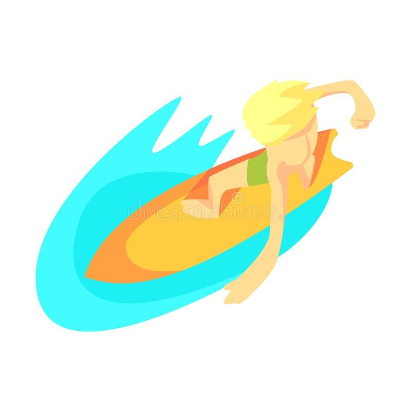 Surfare på bränningbräde från över, del av tonåringar som öva extrema sportar vektor illustrationer