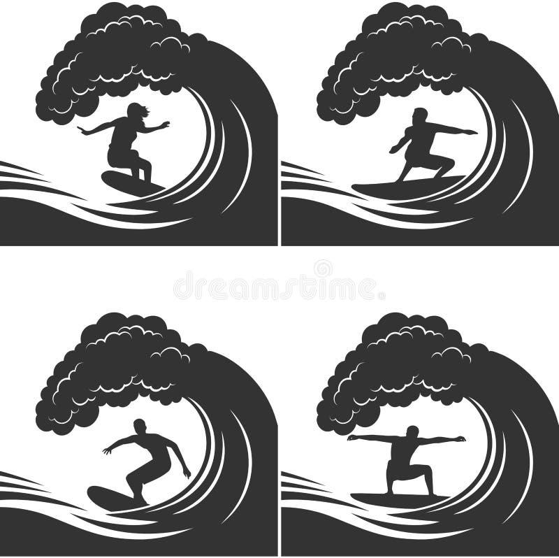 Surfare på en vågmonokromuppsättning stock illustrationer