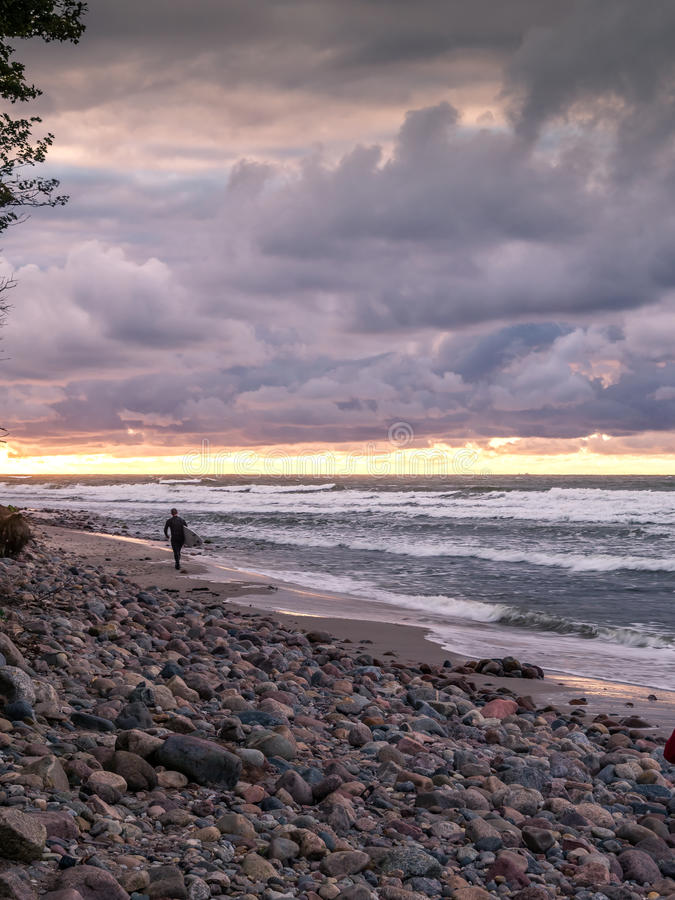 Surfare på stranden royaltyfri fotografi