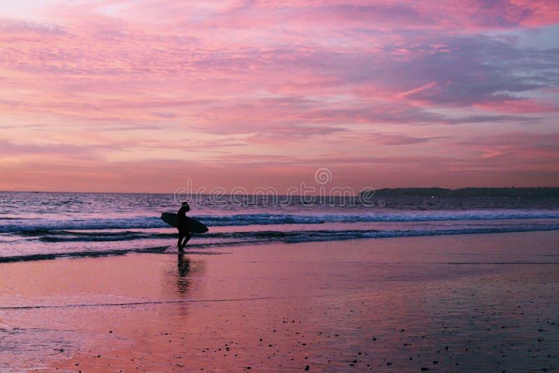 Surfare på stranden under solnedgång royaltyfria bilder