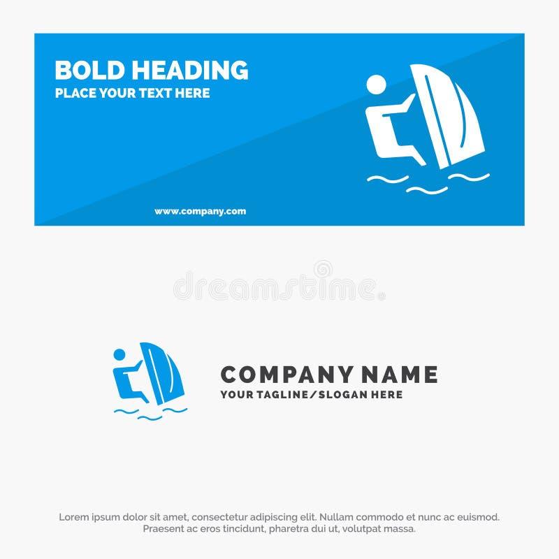 Surfare, surfa, vatten, vind, för symbolsWebsite för sport fast baner och affär Logo Template royaltyfri illustrationer