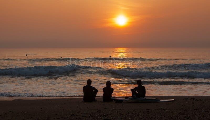 Surfarear som beundrar solnedgången royaltyfria bilder