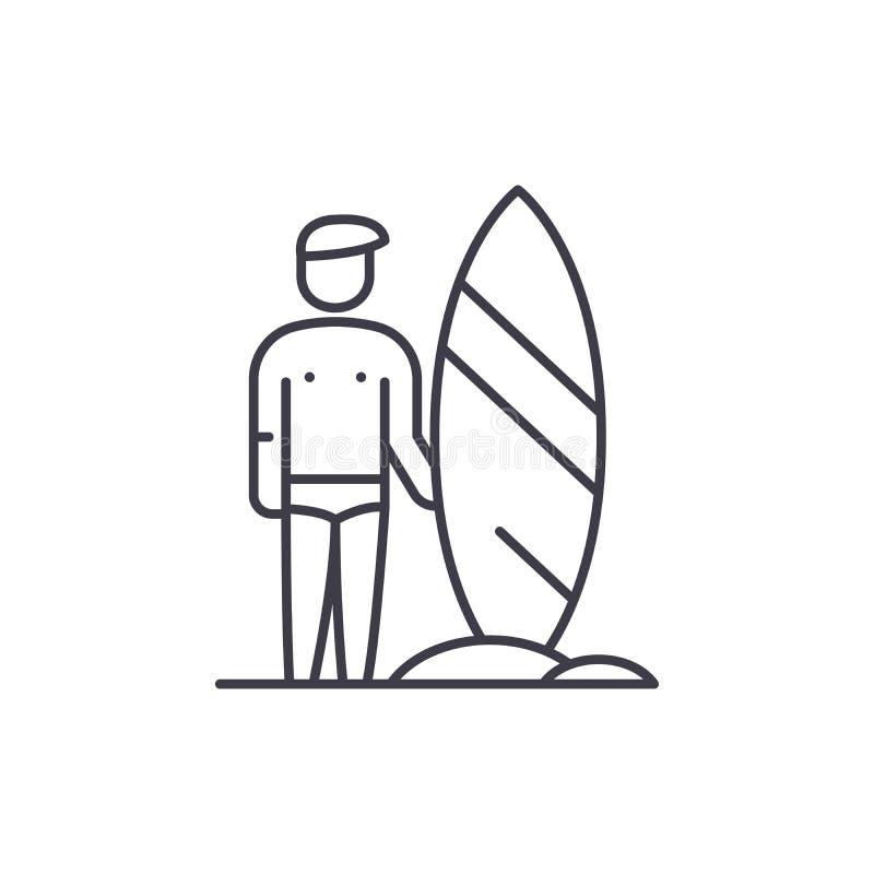 Surfarelinje symbolsbegrepp Linjär illustration för surfarevektor, symbol, tecken stock illustrationer