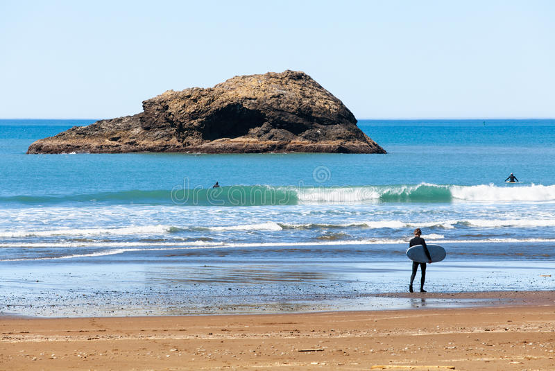 Surfareman som går på den lösa stranden SiktsOregon för landskap scenisk kust, USA royaltyfri bild