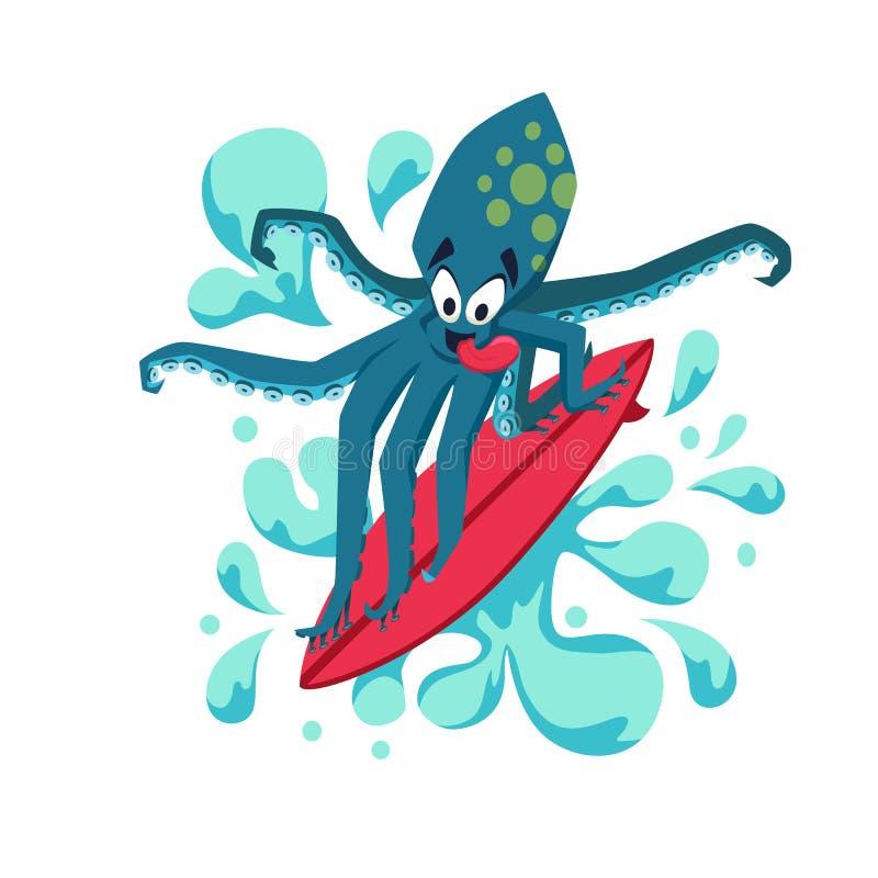 Surfaren kyler bläckfisken stock illustrationer