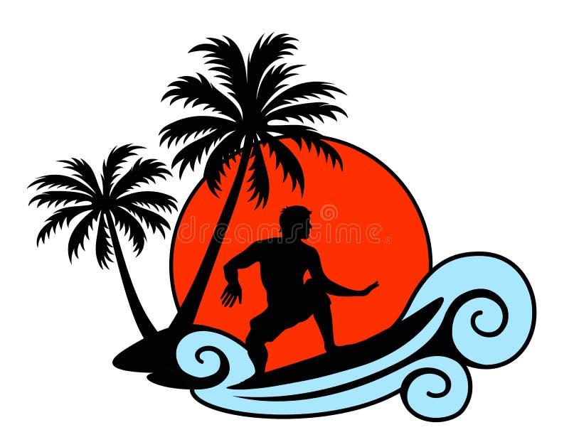 Surfaren på en våg med gömma i handflatan och solnedgången royaltyfri illustrationer