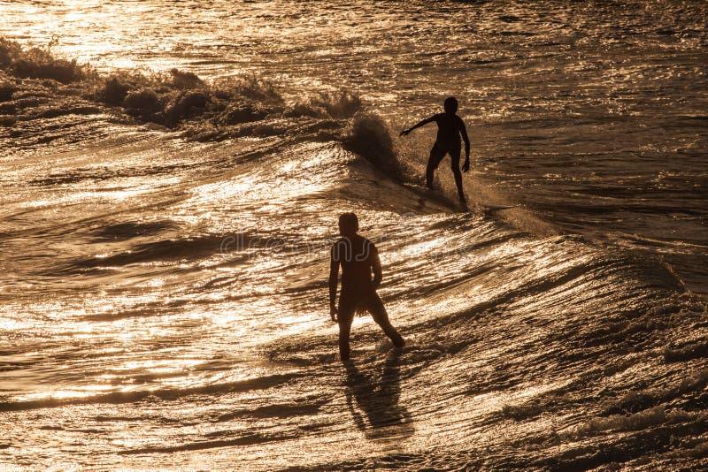 Surfaren rider en stor blå tropisk våg i paradis royaltyfria foton