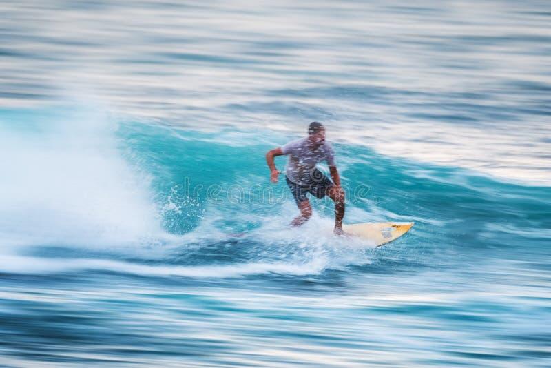 Surfaren rider vågen royaltyfria foton