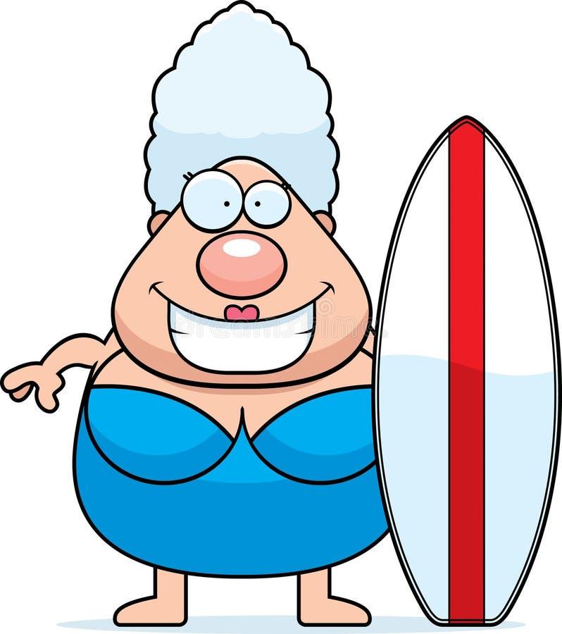Surfboard женщины шаржа иллюстрация вектора