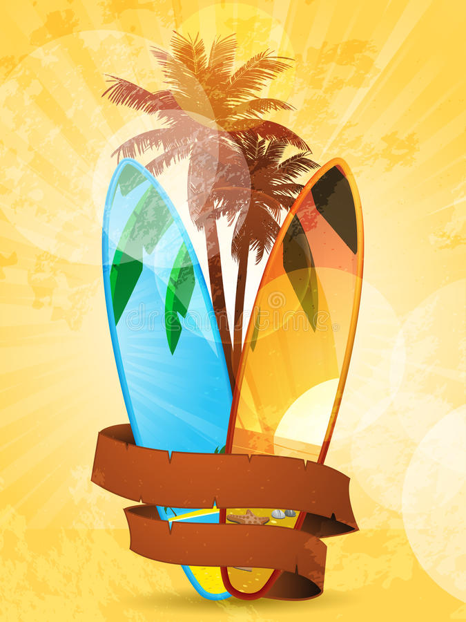 surfboard знамени тропический иллюстрация штока