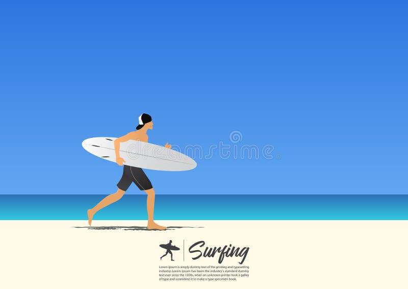 Surfboard нося и ход молодого человека серфера на пляже с белым песком иллюстрация вектора