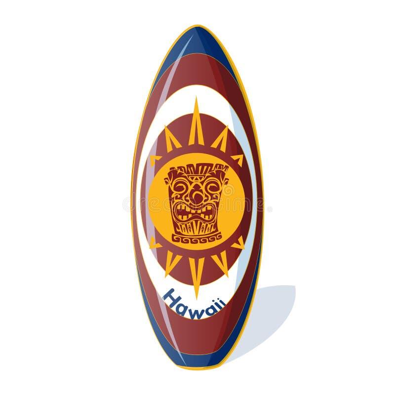 Surfboard с национальной гавайской картиной от тотема и солнца tiki, и надпись Гаваи иллюстрация штока