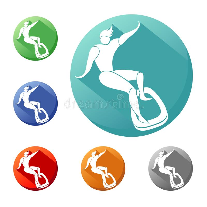 Surfboard on the board slips. icon. Surfing, surfboard on the board slips. icon, sign, emblem in a circle of different colors vector illustration