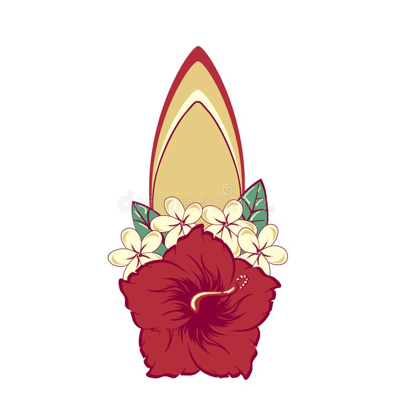 Surfboard in hawaiian flowers bouquet hibiscus and plumeria stock photography