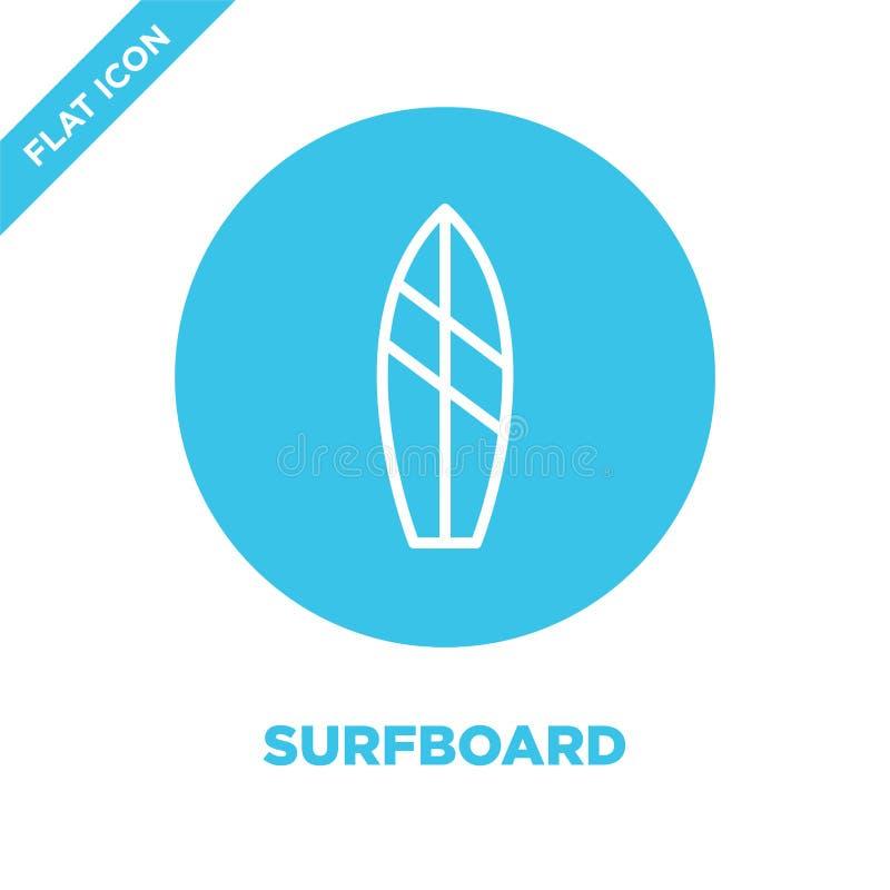 surfboard ikony wektor od sezonów inkasowych Cienka kreskowa surfboard konturu ikony wektoru ilustracja Liniowy symbol dla używa  royalty ilustracja