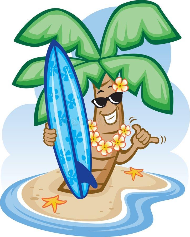 surfboard palmowy drzewo ilustracja wektor