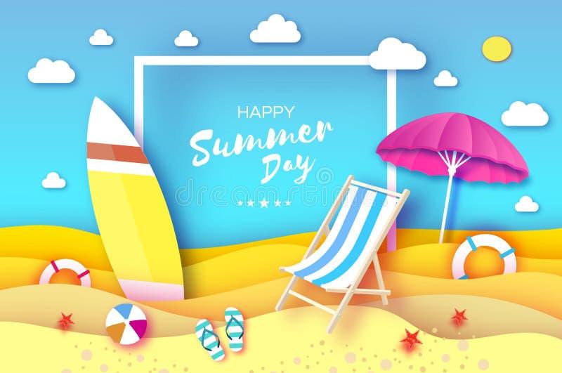 surfboard Parasol cor-de-rosa - o guarda-chuva no papel cortou o estilo Mar do origâmi e sala de estar azul do Chaise surf Jogo d ilustração stock