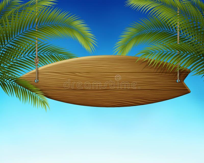 Surfboard Podpisuje wewnątrz palmy royalty ilustracja
