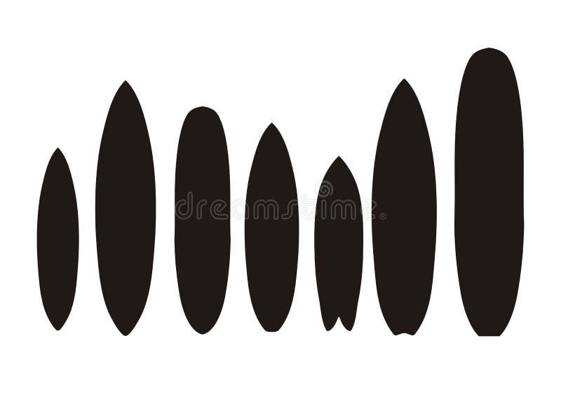 Surfboard types - silhouette vector illustration