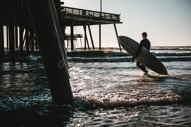 Surfboarder carrying a surfboard in the wavy ocean near the wooden pier during sunset royalty free stock image