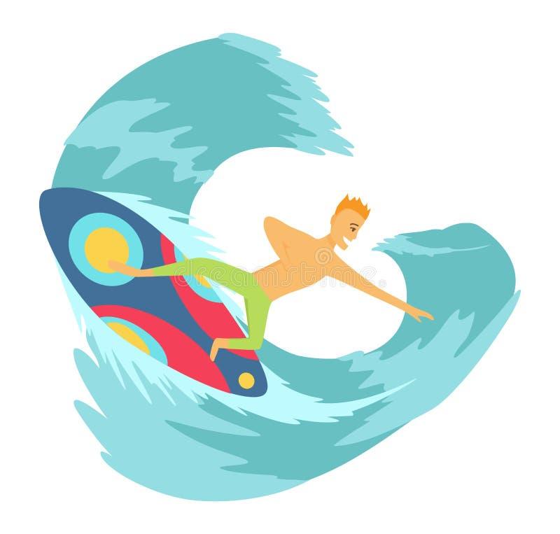 Surfboarder de jeune homme montant une planche de surf dans l'illustartion de vecteur de vague illustration stock