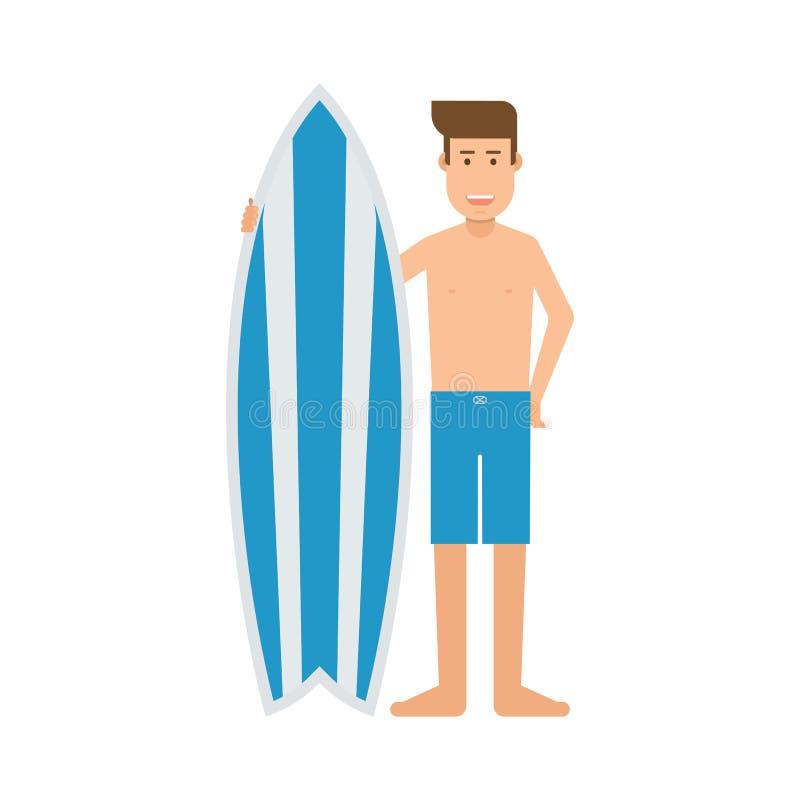 Surfboarder mężczyzna Z kipieli biurkiem ilustracja wektor