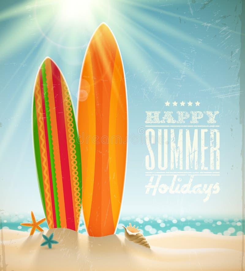 Surfboards на пляже против солнечного seascape иллюстрация вектора